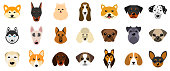 Set Heads of Dogs, Collection Different Breeds of Canines, Isolated on White Background - Illustration Vector