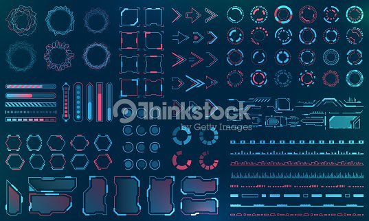 Set HUD Interface Elements - Lines, Circles, Pointers, Frames, Bar Download for Web Applications : stock vector