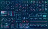 Set HUD Interface Elements - Lines, Circles, Pointers, Frames, Bar Download for Web Applications, Futuristic UI - Illustration Vector
