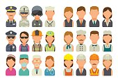 Set icon different professions. Character cook, builder, business, army and medical people. Vector flat illustration on white background.