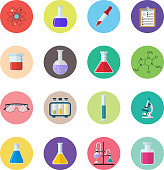 Chemical icons. Science, education, chemistry, experiment and laboratory concept. vector illustration in flat design