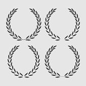 set icon laurel wreath - vector illustration Black