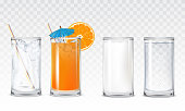 Set of vector icons glasses with water, orange juice and milk
