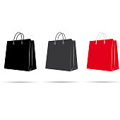 Vector set icons of bags for shopping. Vector illustration.