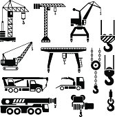 Set icons of crane, lifts and winches isolated on white. This illustration - EPS10 vector file.