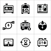Set icons of electrical generator isolated on white. This illustration - EPS10 vector file.