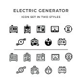 Set icons of electrical generator in two styles isolated on white. This illustration - EPS10 vector file.