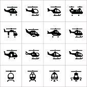 Set icons of helicopters isolated on white. This illustration - EPS10 vector file.