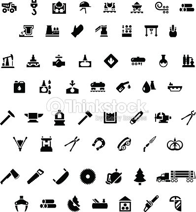 Set Icons Of Industry Metallurgical Oil Forge And Sawmill