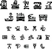 Set icons of machine tool, robotic industry isolated on white. This illustration - EPS10 vector file.
