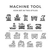 Set icons of machine tool in two styles isolated on white. This illustration - EPS10 vector file.