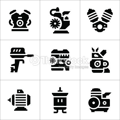 Set Icons Of Motor And Engine Vector Art | Thinkstock