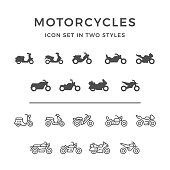 Set icons of motorcycle in two styles isolated on white. This illustration - EPS10 vector file.