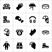 Set icons of personal protective equipment isolated on white. This illustration - EPS10 vector file.