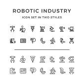 Set icons of robotic industry in two styles isolated on white. This illustration - EPS10 vector file.