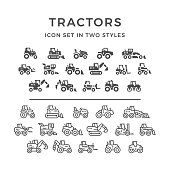 Set line icons of tractors, farm and buildings machines, construction vehicles in two styles isolated on white. This illustration - EPS10 vector file.