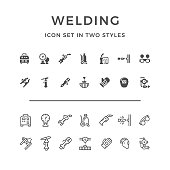 Set icons of welding in two styles isolated on white. This illustration - EPS10 vector file.