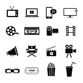 Collection of several icons related to video recording, movies, cinema, theatre and film industry. Fully editable EPS10.