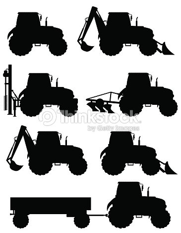 Set Icons Tractors Black Silhouette Vector Illustration ...