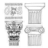 Set illustration with pillar and lettering. Ancient Columns. Vector