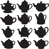 Set isolated icon silhouette kettles, teapots, coffee pot on white background