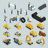 Set isometric 3D icons for construction workers, crane, machinery, power, transportation, clothing, buses on a gray background.