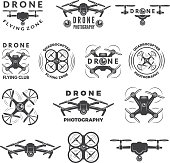 Set labels with different illustrations of drones. Quadrocopter photography with propeller vector