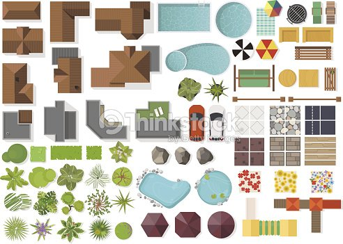 Set Landscape elements, top view.House, garden, tree, lake,swimming pools, bench, table. Landscaping symbols set isolated on white : arte vetorial