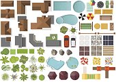 Set Landscape elements, top view.House, garden, tree, lake,swimming pools, bench, table.
