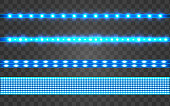 Set LED realistic blue ribbon on a transparent background. Neon or led glowing light stripes with glare and light flashes. LED neon Garlands decorations template on a transparent background
