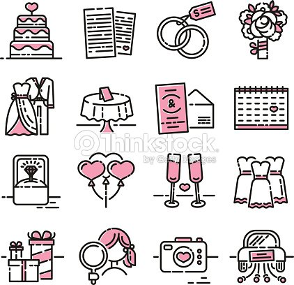 Set line icon for wedding the symbols of the groom the bride the set line icon for wedding the symbols of the groom the bride the wedding invitation and the ring collection of signs for the newlyweds with pink color stopboris Image collections