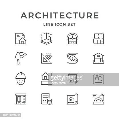 La ligne réglée icônes de l'architecture : clipart vectoriel