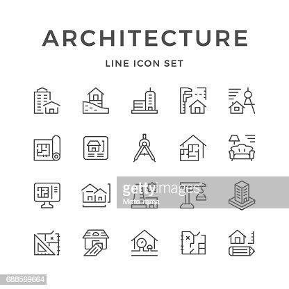 La ligne réglée des icônes de l'architecture : Clipart vectoriel