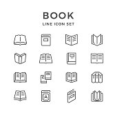 Set line icons of book isolated on white. Vector illustration