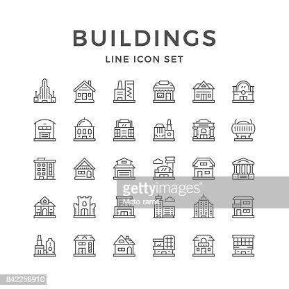 Línea set de iconos de edificios : Arte vectorial