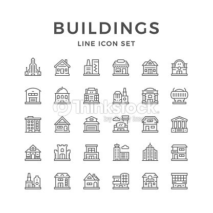 Set line icons of buildings : stock vector