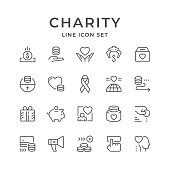 Set line icons of charity isolated on white. Vector illustration