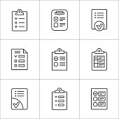 Set line icons of checklist isolated on white. This illustration - EPS10 vector file.