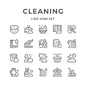 Set line icons of cleaning isolated on white. Vector illustration