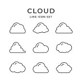 Set line icons of cloud isolated on white. Vector illustration