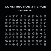 Set line icons of construction and repair isolated on black Vector illustration