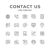 Set line icons of contact us isolated on white. Vector illustration