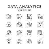 Set line icons of data analytics isolated on white. Vector illustration