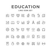 Set line icons of education isolated on white. Vector illustration