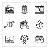 Set line icons of electrical generator isolated on white. This illustration - EPS10 vector file.