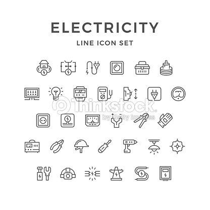 Die Linie Symbole Von Elektrizität Vektorgrafik | Thinkstock