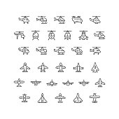 Set line icons of helicopters and planes isolated on white. This illustration - EPS10 vector file.