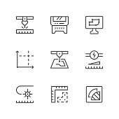 Set line icons of laser cutting isolated on white. Vector illustration