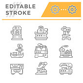 Set line icons of machine tool isolated on white. Editable stroke. Vector illustration