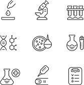 Set line icons of medical analysis isolated on white. This illustration - EPS10 vector file.
